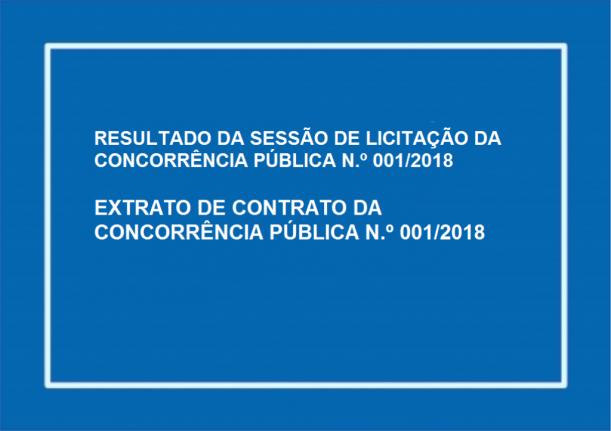 RESULTADO DA SESSÃO DE LICITAÇÃO DA CONCORRÊNCIA PÚBLICA N.º 001/2018 EXTRATO DE CONTRATO DA CONCORRÊNCIA PÚBLICA N.º 001/2018