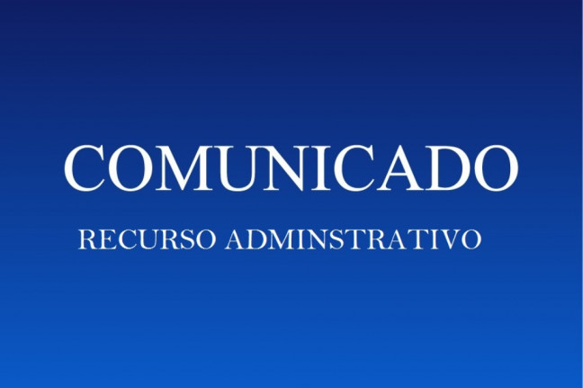 COMUNICADO - RECURSO ADMINISTRATIVO