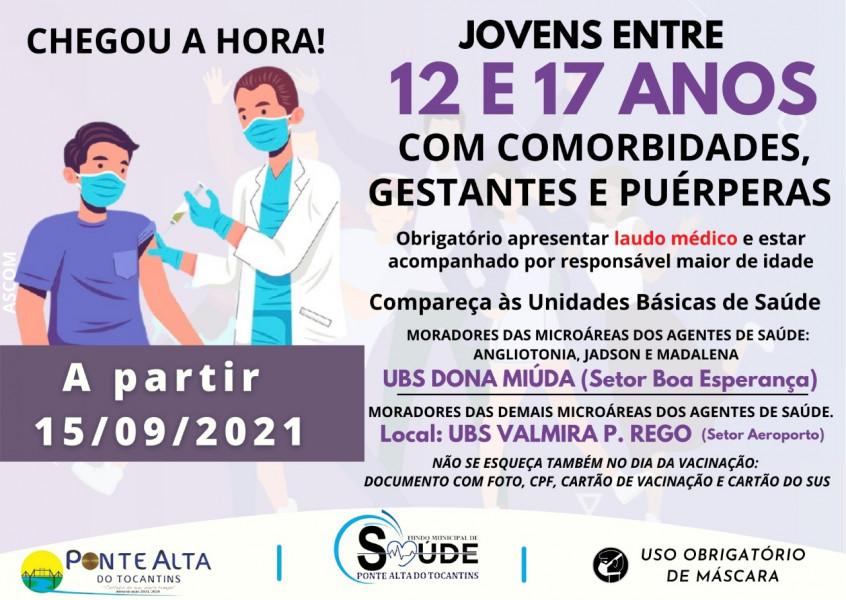 Vacinação de Jovens de 12 a 17 anos com comorbidades