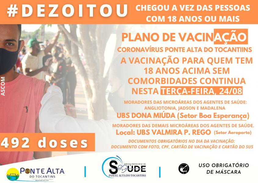 Nova etapa de vacinação para o público de 18 anos em Ponte Alta do TO