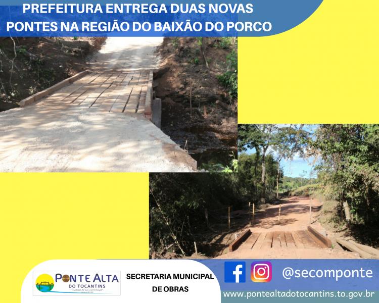 Prefeitura entrega duas novas pontes na região do Baixão do Porco se